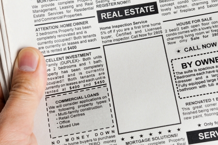 commercial real estate: Fake Classified Ad, newspaper, Real Estate concept