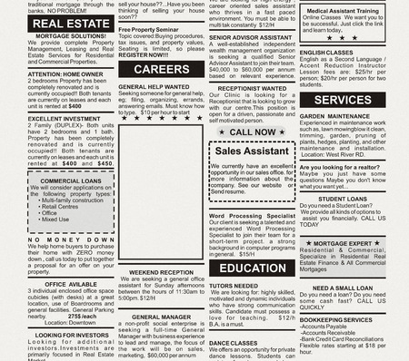 classified ad: Fake Classified Ad, newspaper, business concept  Stock Photo
