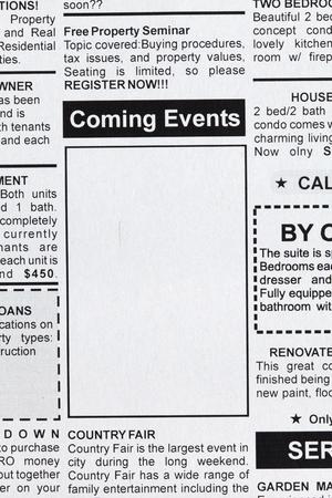 가짜 분류 된 광고, 신문, 다가오는 이벤트 개념 스톡 콘텐츠