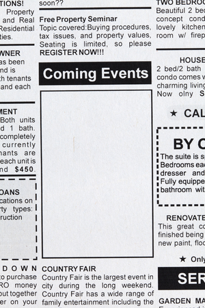 Fake Classified Ad, newspaper, Coming Events concept