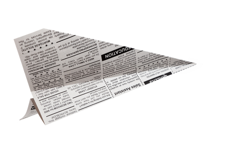 fake newspaper: Fake Newspaper Airplane, Classified Ad, business concept  Stock Photo