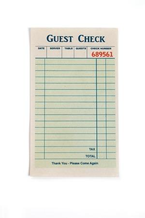 Blank Guest Check, il concetto di ristorante spesa Archivio Fotografico - 23406292
