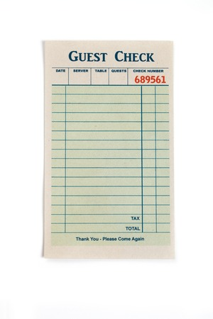 Blank Guest Check, concept of restaurant expense