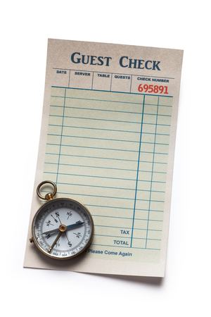 cheque en blanco: Cheque en blanco Invitado y la brújula, el concepto de gasto restaurante