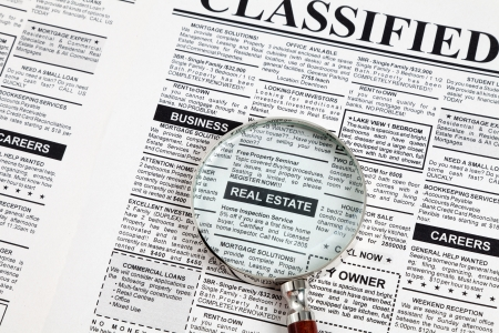 Fake Classified Ad, newspaper, real estate concept  Stock Photo