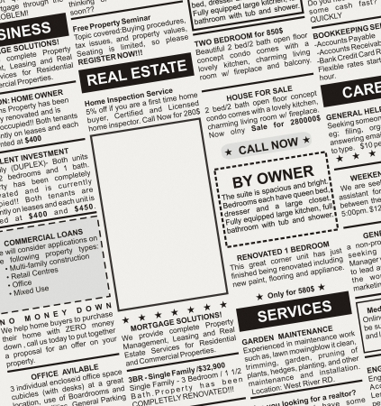Fake Classified Ad, newspaper, business concept  Фото со стока