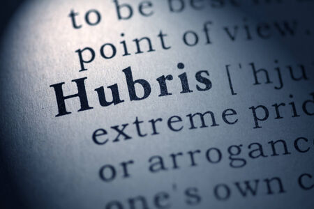 Fake Dictionary, Dictionary definition of the word hubris  Stock Photo