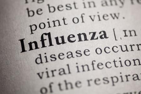 가짜 사전, 단어 인플루엔자의 사전 정의 스톡 콘텐츠