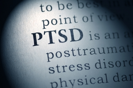 Fake Dictionary, Dictionary definition of the word PTSD  Post Traumatic Stress Disorder  Stock Photo