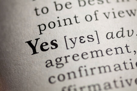 Fake Dictionary, Dictionary definition of the word yes  Stock Photo