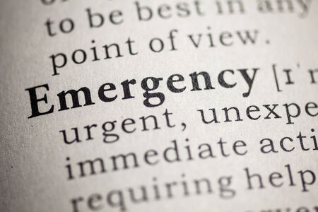 Fake Dictionary, Dictionary definition of the word emergency Stock Photo - 25165072