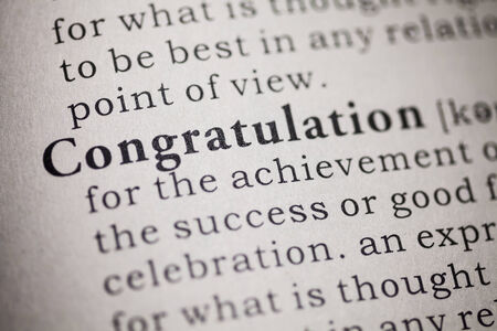Fake Dictionary, Dictionary definition of the word congratulation Stock Photo - 25165074