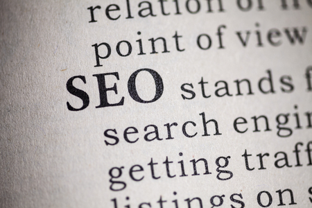 Fake Dictionary, Dictionary definition of the word SEO  Search engine optimization Stock Photo