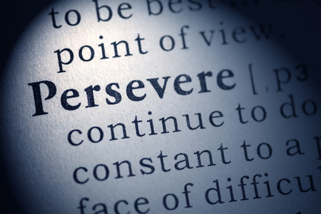Fake Dictionary, Dictionary definition of persevere Stock Photo - 25167109
