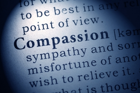 compassion: Fake Dictionary, Dictionary definition of compassion  Stock Photo