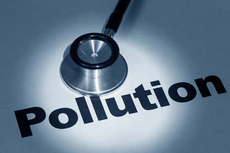stethoscope and word pollution, concept of environment issue Stock fotó