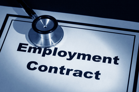 stethoscope and employment contract, concept of contract risk Stock fotó - 25269693
