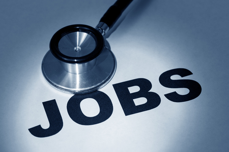 stethoscope and word job, concept of employment issue