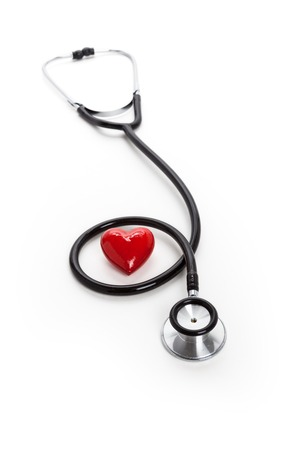 Stethoscope and red heart, heart disease
