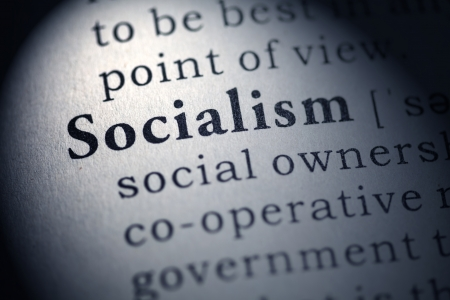 Fake Dictionary, Dictionary definition of the word socialism  Stock Photo