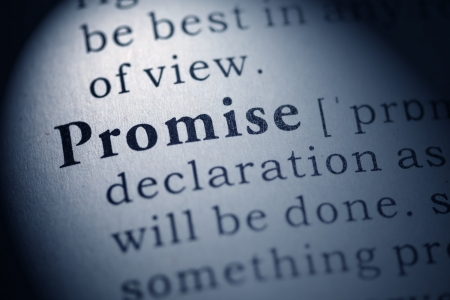 Fake Dictionary, Dictionary definition of the word promise  Stock Photo