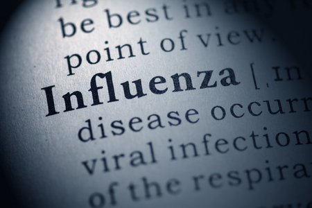 Fake Dictionary, Dictionary definition of the word influenza  Stock Photo