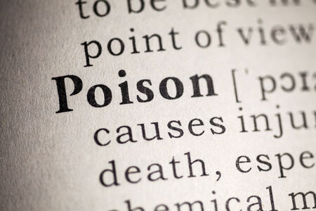Fake Dictionary, Dictionary definition of the word poison  Stock Photo