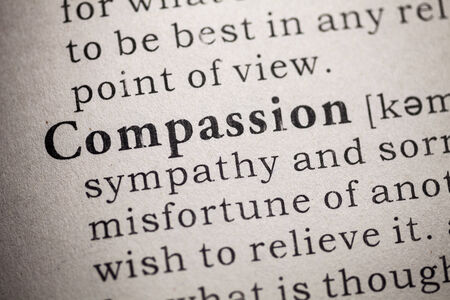Fake Dictionary, Dictionary definition of compassion  Stock Photo