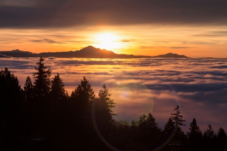 Sunrise, view of Mount Baker from west Vancouver BC Canada Archivio Fotografico