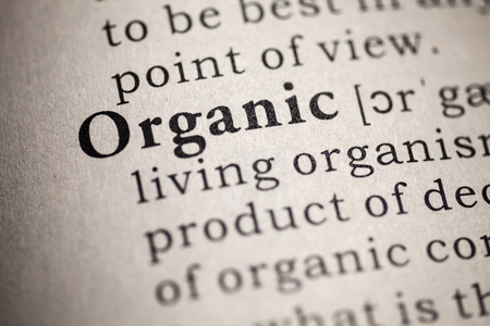Fake Dictionary, Dictionary definition of the word organic  Stock Photo