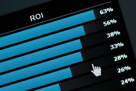 roi: Computer Monitor screen Graph,  ROI  Return on investment  Stock Photo