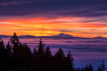 mount baker: Sunrise, view of Mount Baker from west Vancouver BC Canada Stock Photo