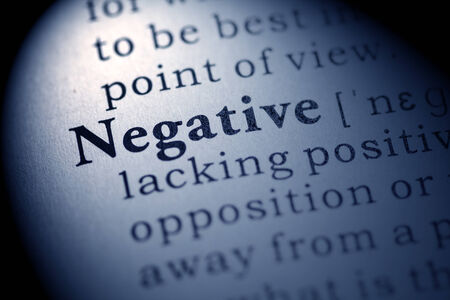 printing out: Fake Dictionary, Dictionary definition of the word negative  Stock Photo