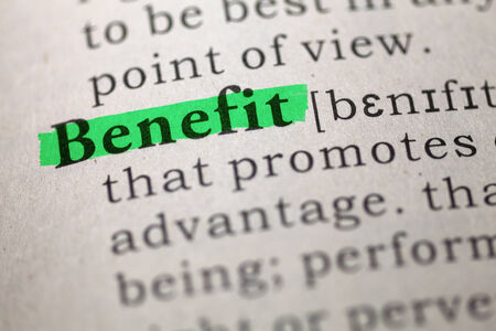 Dictionary definition of the word Benefit  photo