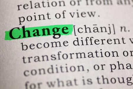 definicion: Definición del diccionario de la palabra cambio Foto de archivo
