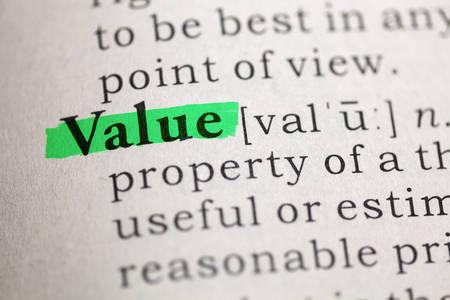 Dictionary definition of the word Value  Banco de Imagens