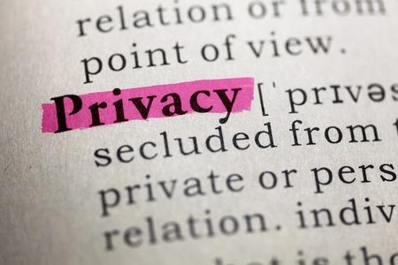 단어의 개인 정보 보호의 사전 정의