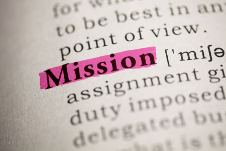 printing out: Fake Dictionary, Dictionary definition of the word Mission  Stock Photo