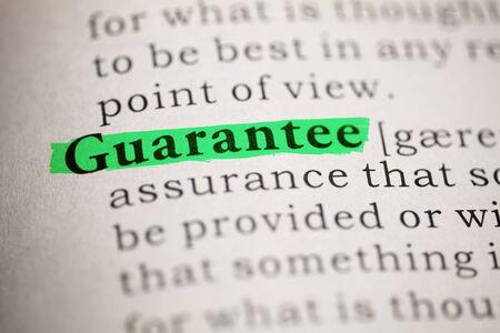 Fake Dictionary, Dictionary definition of the word Guarantee  Banco de Imagens