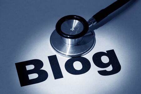 stethoscope and blog, concept of online issue