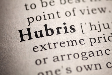 Fake Dictionary, Dictionary definition of the word hubris  Stockfoto