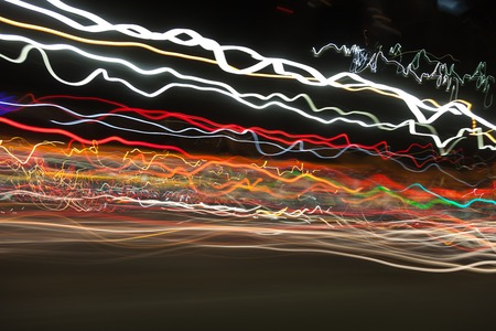 photographic effects: street and car lights, long Exposure