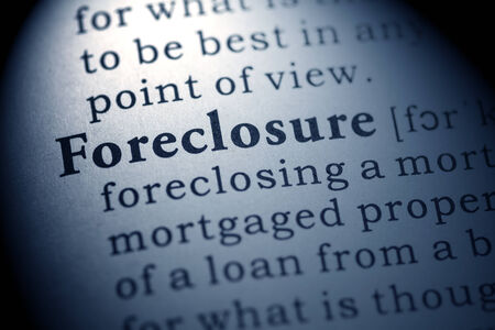 foreclosure: Fake Dictionary, Dictionary definition of the word foreclosure  Stock Photo