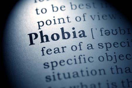 phobia: Fake Dictionary, Dictionary definition of the word phobia  Stock Photo