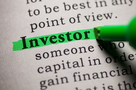 investor: Fake Dictionary, definition of the word investor  Stock Photo