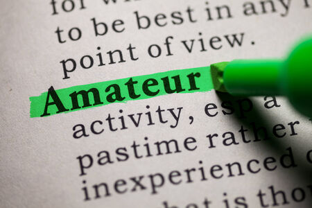 printing out: Fake Dictionary, definition of the word amateur  Stock Photo
