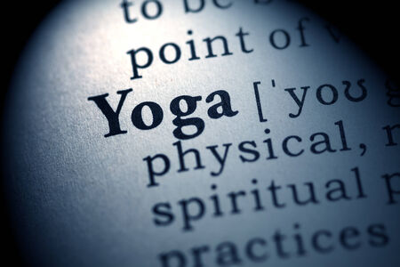 printing out: Fake Dictionary, Dictionary definition of the word yoga  Stock Photo