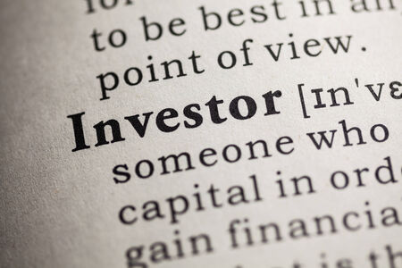 printing out: Fake Dictionary, definition of the word investor  Stock Photo