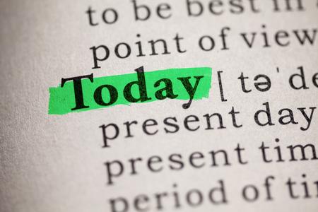 가짜 사전, 오늘 단어의 정의 스톡 콘텐츠