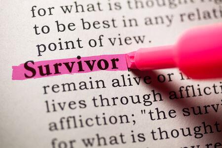 Fake woordenboek, woordenboek definitie van het woord overlevende